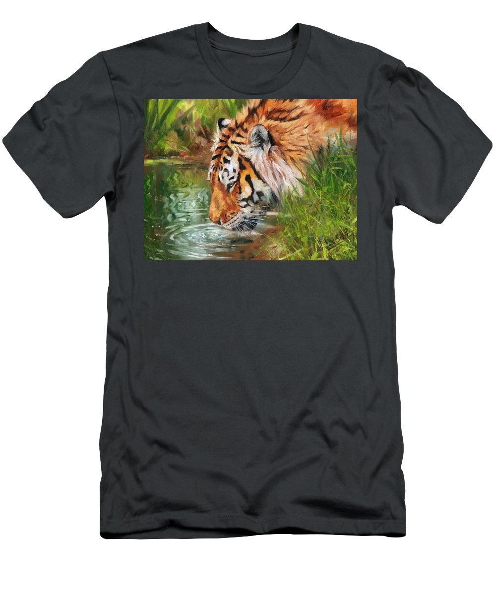 Animals Men's T-Shirt (Athletic Fit) featuring the painting Amur Tiger by David Stribbling