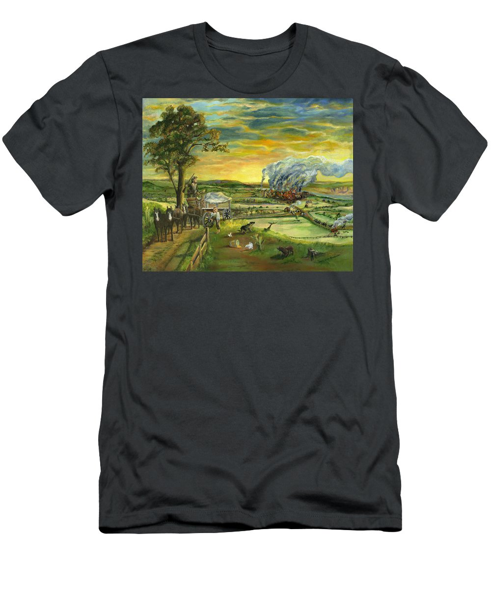 American Landmark Men's T-Shirt (Athletic Fit) featuring the painting Bleeding Kansas - A Life And Nation Changing Event by Mary Ellen Anderson