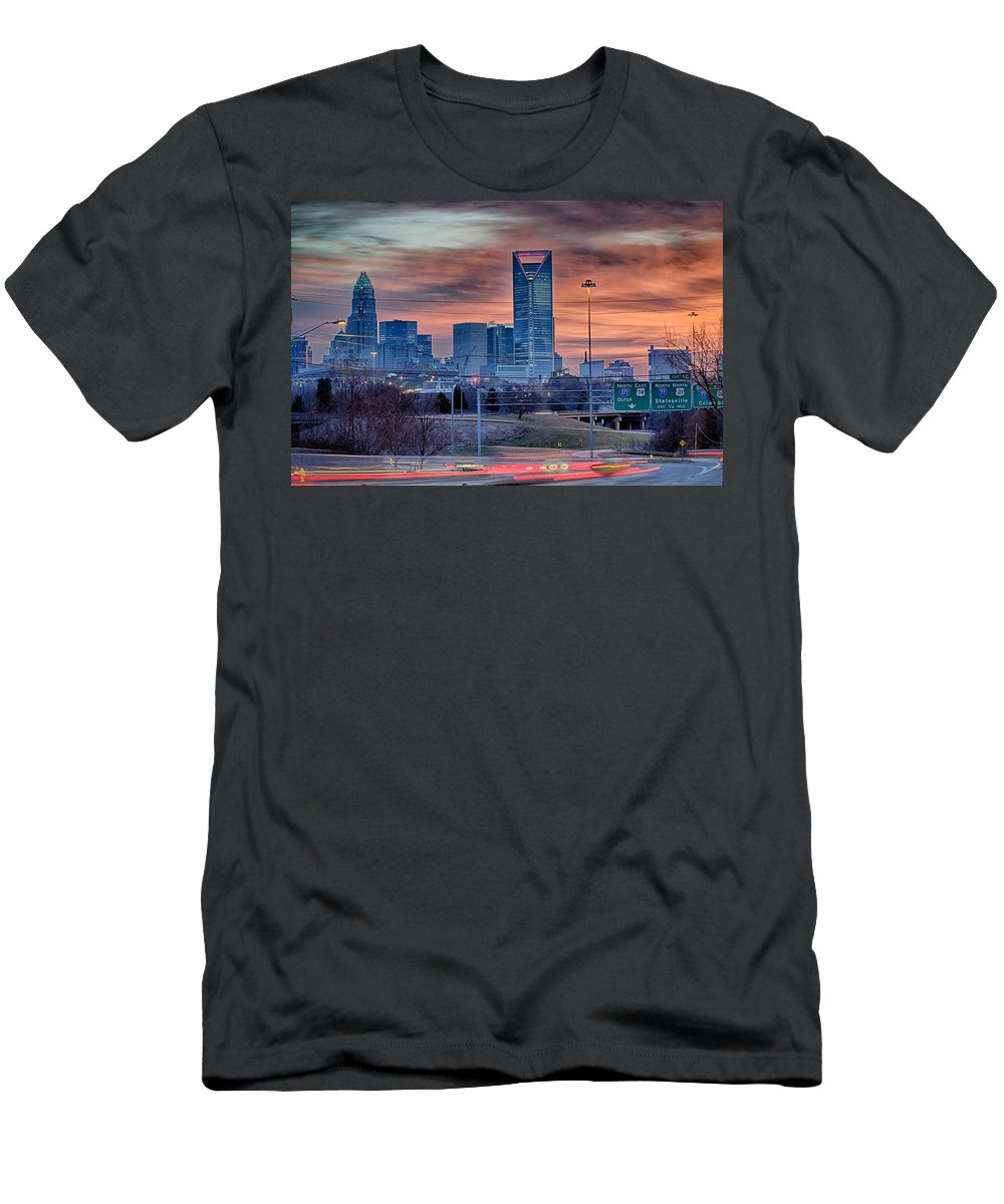 Charlotte Men's T-Shirt (Athletic Fit) featuring the photograph Charlotte The Queen City Skyline At Sunrise by Alex Grichenko