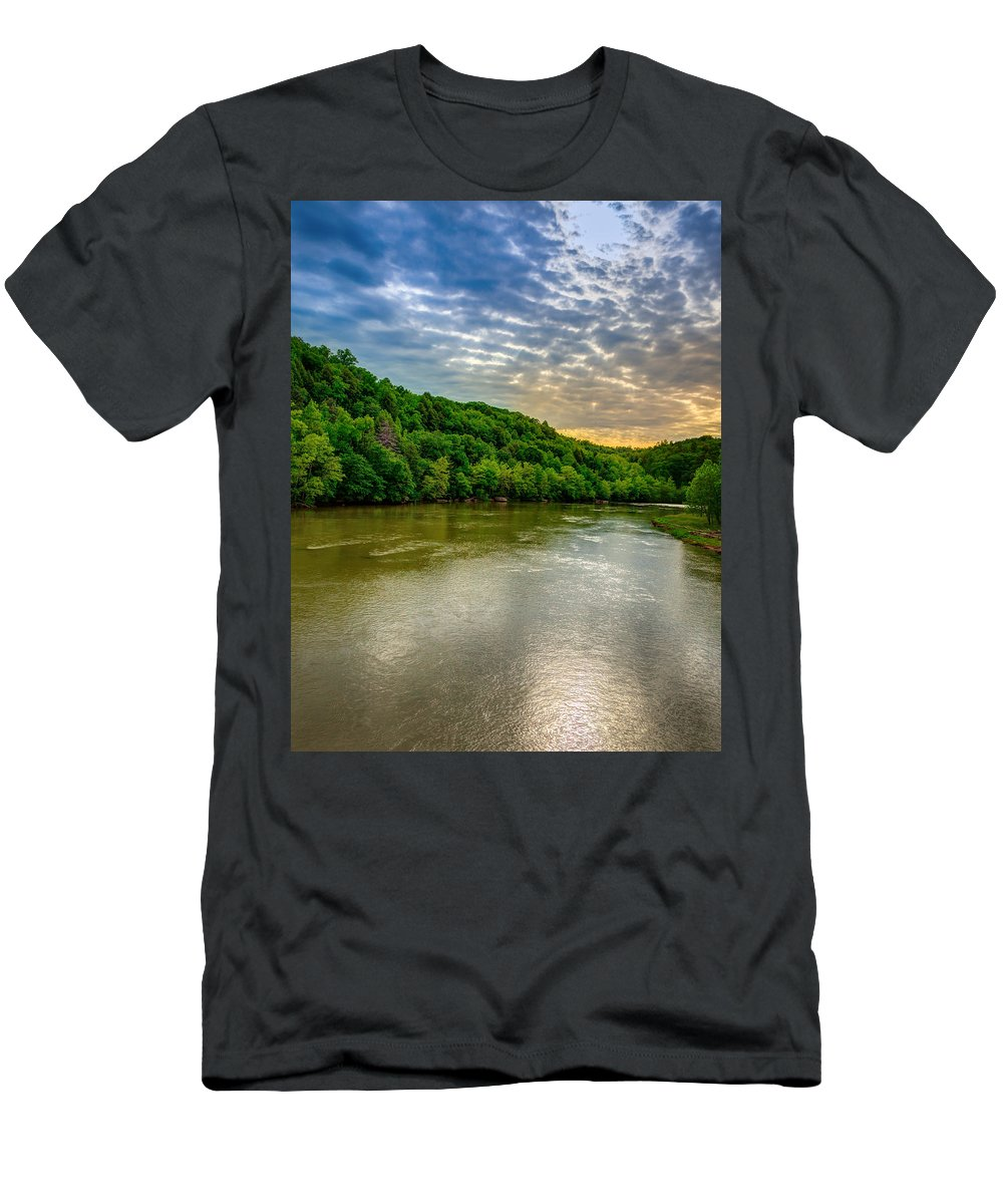 River Men's T-Shirt (Athletic Fit) featuring the photograph Cumberland River by Alexey Stiop