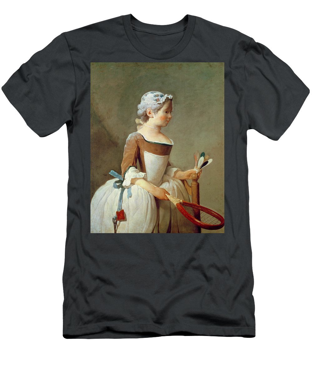 Girl With Racket And Shuttlecock Men's T-Shirt (Athletic Fit) featuring the painting Girl With Racket And Shuttlecock by Jean-Baptiste Simeon Chardin