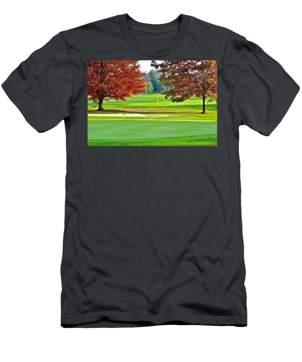 Golf Men's T-Shirt (Athletic Fit) featuring the photograph Golf Course Beauty by Frozen in Time Fine Art Photography