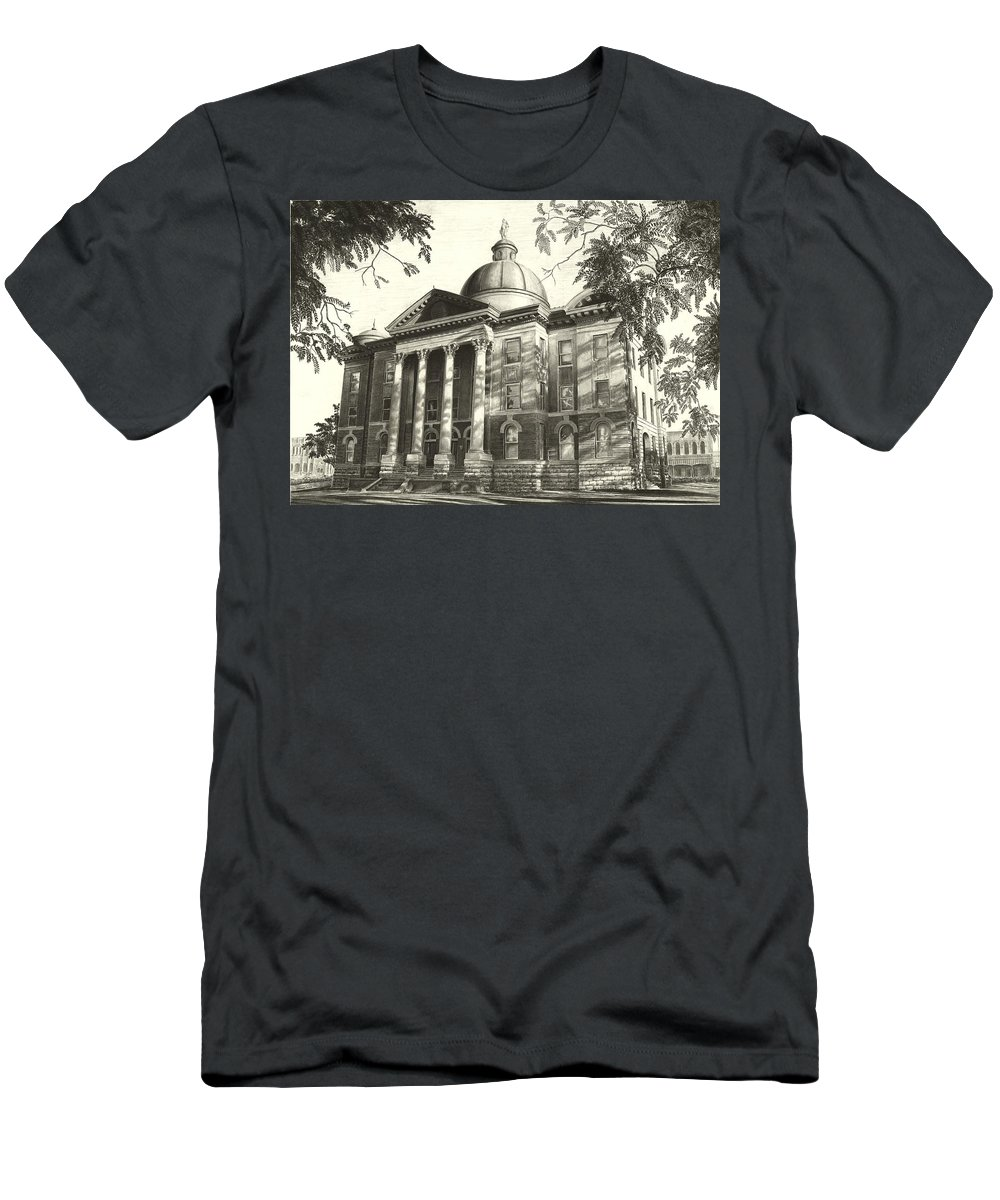 Hays County Courthouse Men's T-Shirt (Athletic Fit) featuring the drawing Hays County Courthouse by Norman Bean