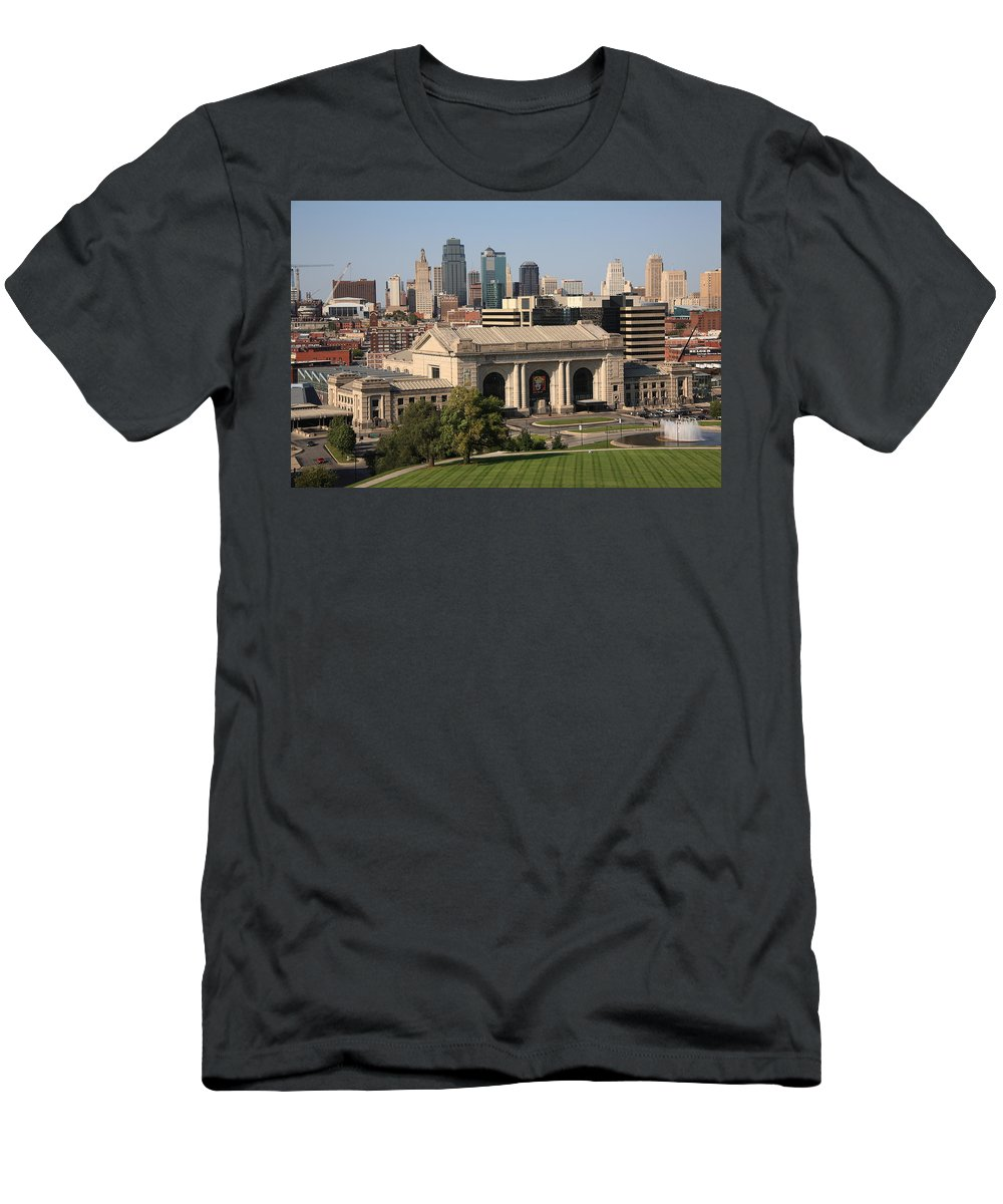 America Men's T-Shirt (Athletic Fit) featuring the photograph Kansas City Skyline by Frank Romeo
