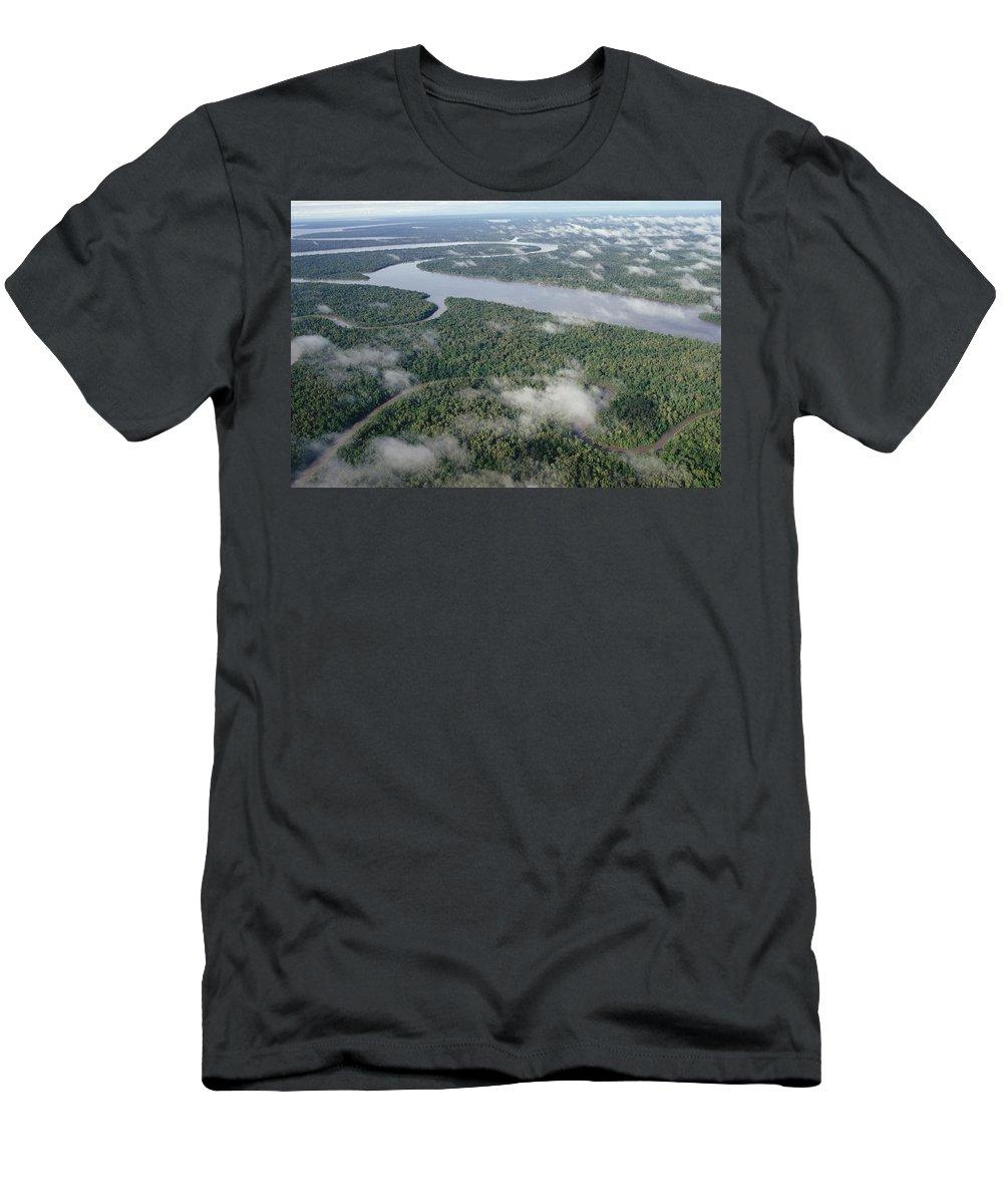 Feb0514 Men's T-Shirt (Athletic Fit) featuring the photograph Kikori River In The Rainforest Kikori by Gerry Ellis