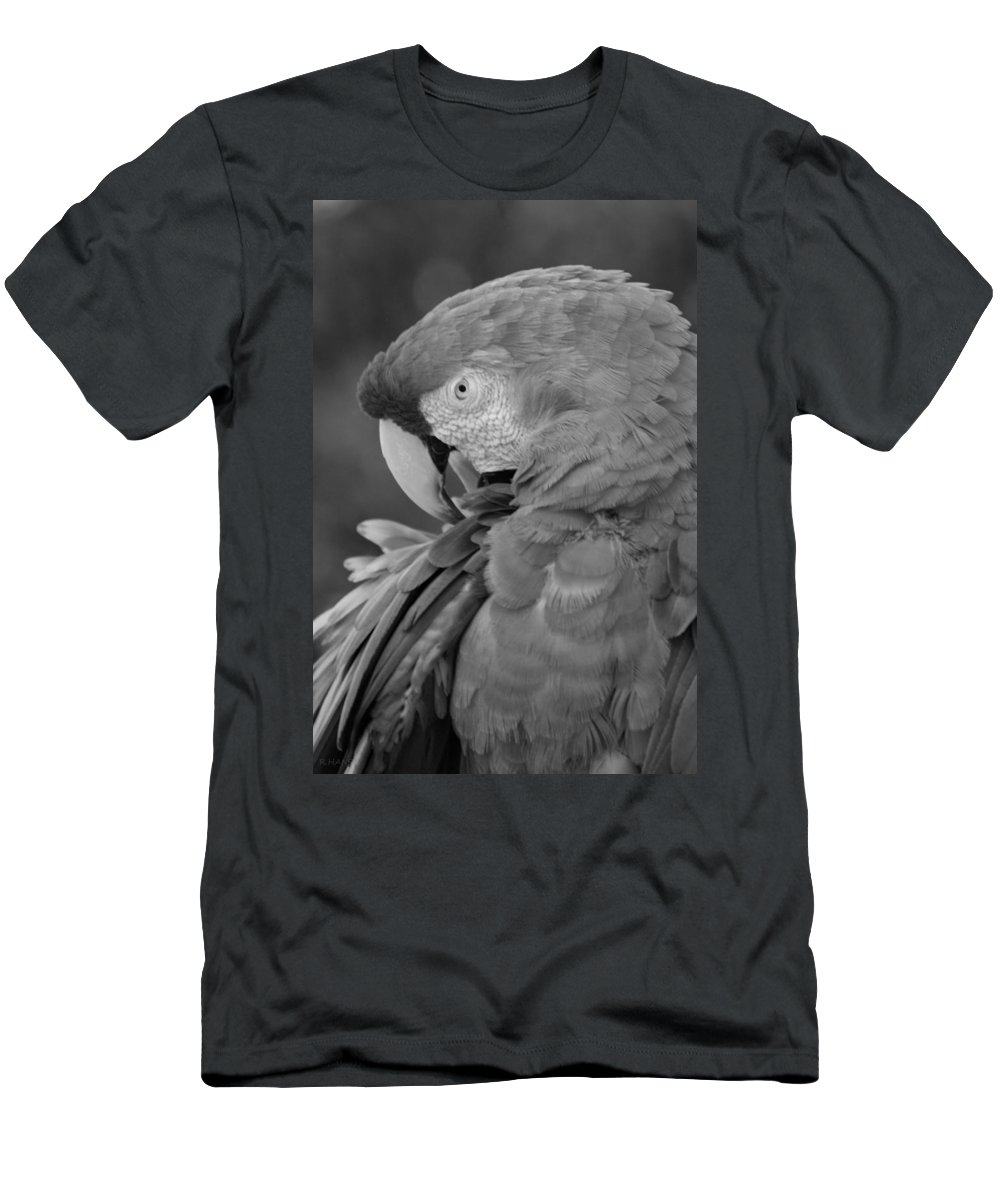 Macaws Men's T-Shirt (Athletic Fit) featuring the photograph Macaws Of Color B W 17 by Rob Hans