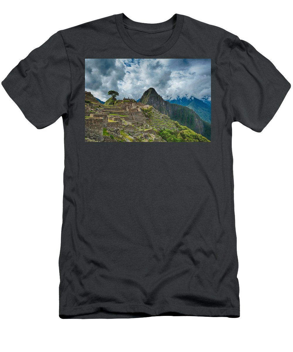 Ancient Men's T-Shirt (Athletic Fit) featuring the photograph Machu Picchu by U Schade