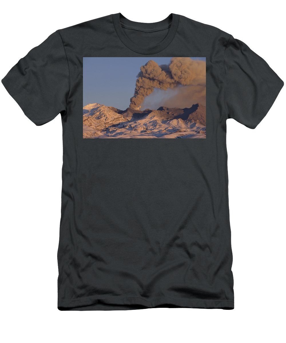 Feb0514 Men's T-Shirt (Athletic Fit) featuring the photograph Mt Ruapehu 1996 Eruption New Zealand by Tui De Roy