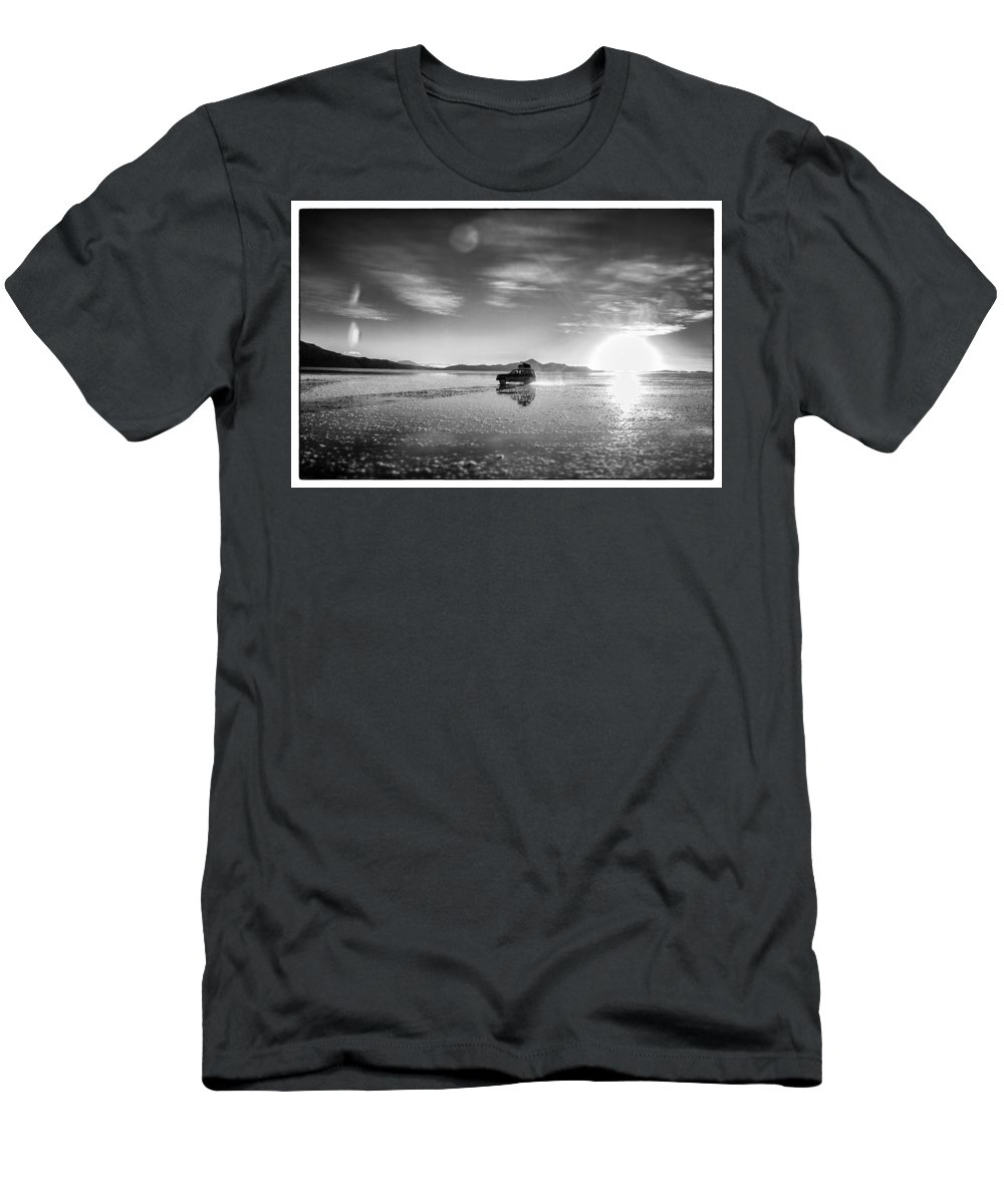 Atomic Bomb Men's T-Shirt (Athletic Fit) featuring the photograph Off Road Uyuni Salt Flat Tour Select Focus by For Ninety One Days