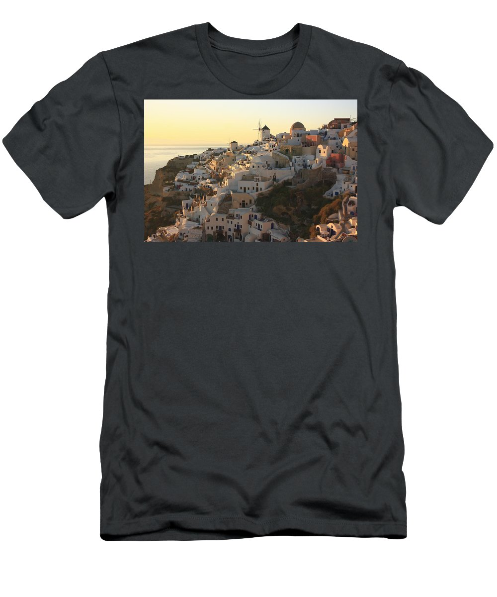 Aegean Men's T-Shirt (Athletic Fit) featuring the photograph Oia At Sunset Santorini Cyclades Greece by Ivan Pendjakov