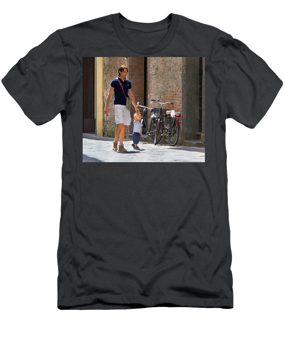 Alley Men's T-Shirt (Athletic Fit) featuring the photograph Padre E Figlio by Keith Armstrong