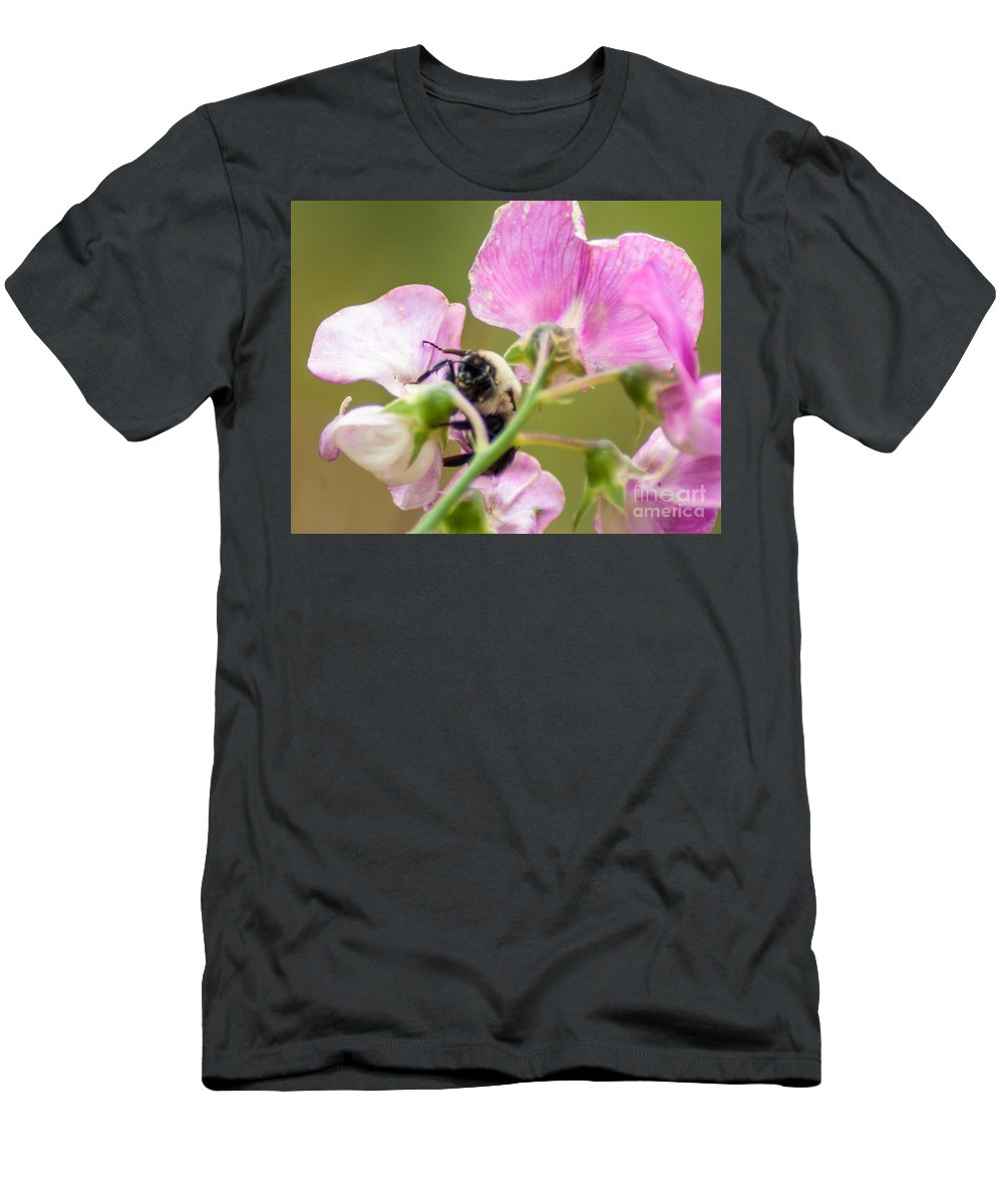 Optical Playground By Mp Ray Men's T-Shirt (Athletic Fit) featuring the photograph Pollination Nation II by Optical Playground By MP Ray