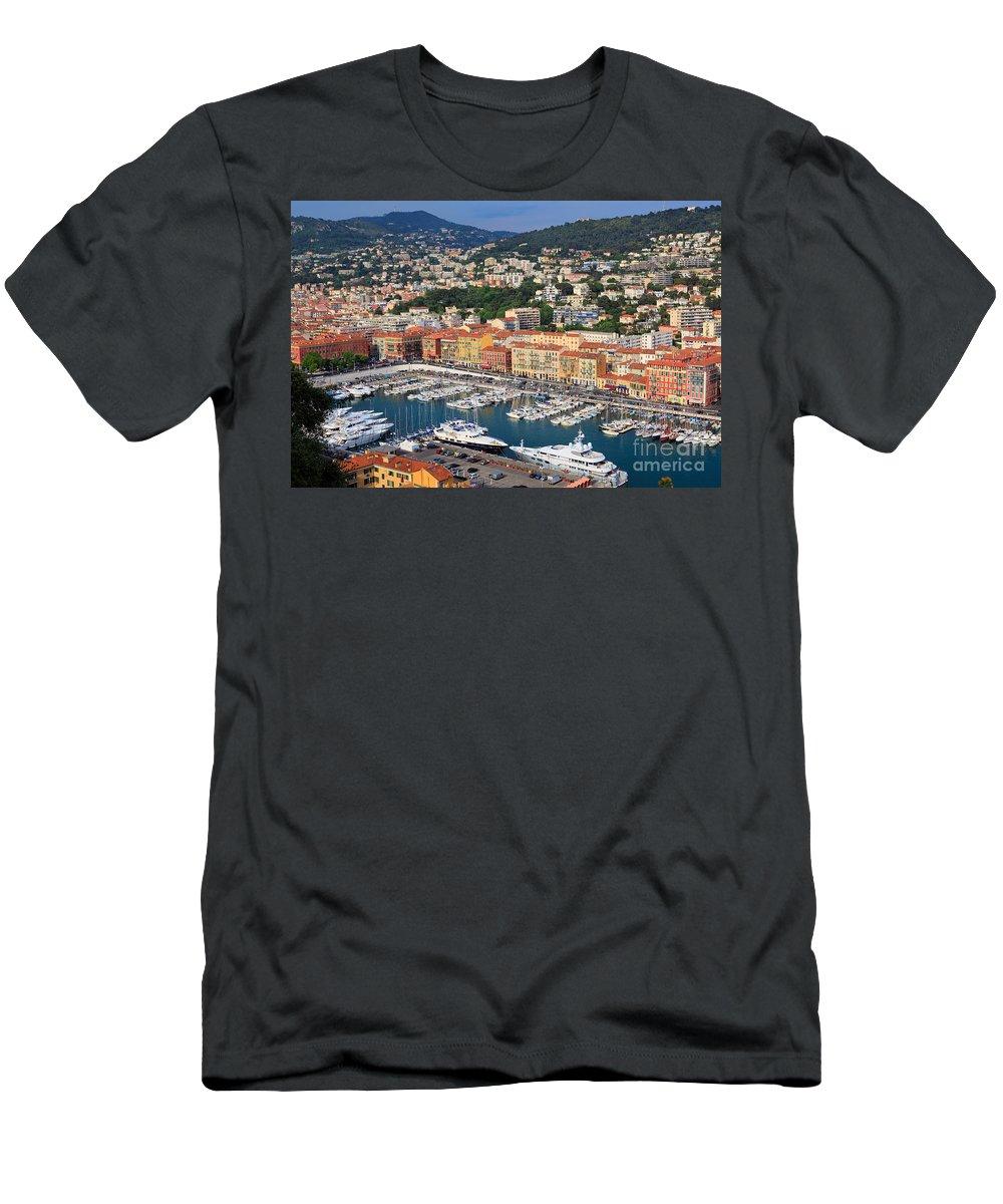 Cote D'azur Men's T-Shirt (Athletic Fit) featuring the photograph Port Du Nice by Inge Johnsson