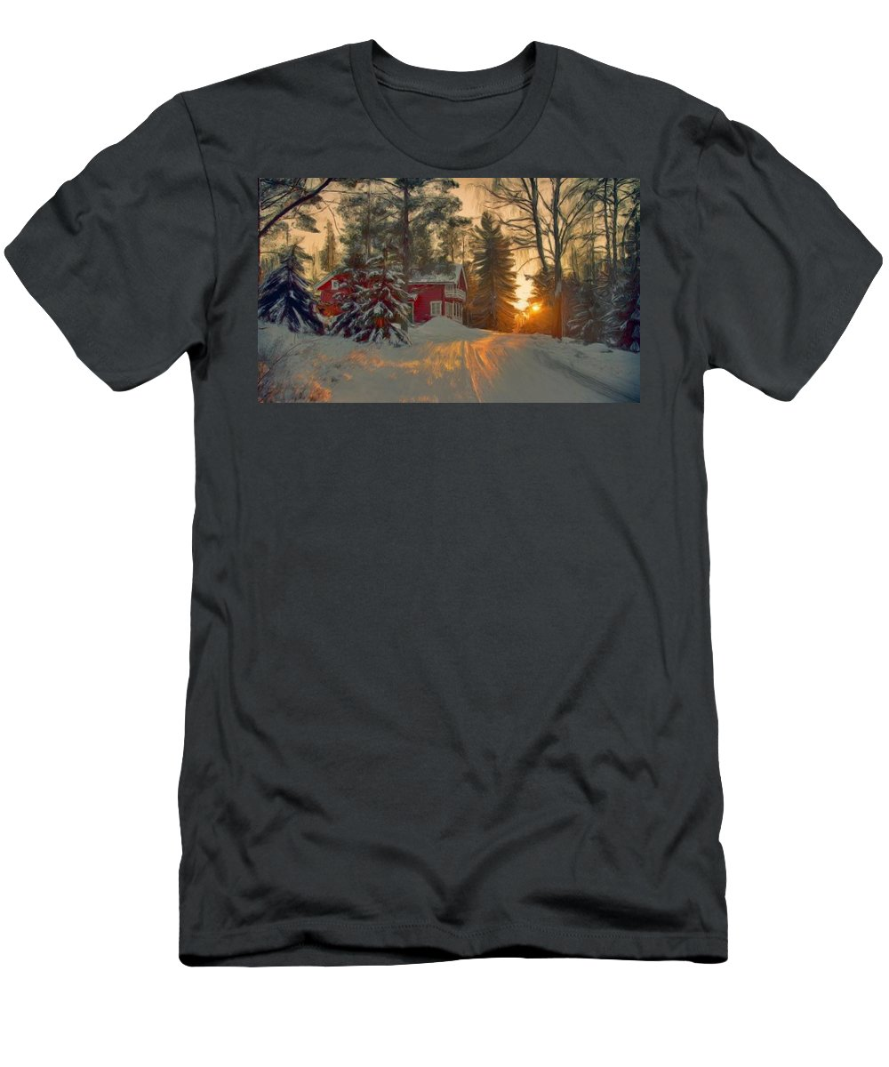 Red Men's T-Shirt (Athletic Fit) featuring the painting Red House In The Winter by Bruce Nutting