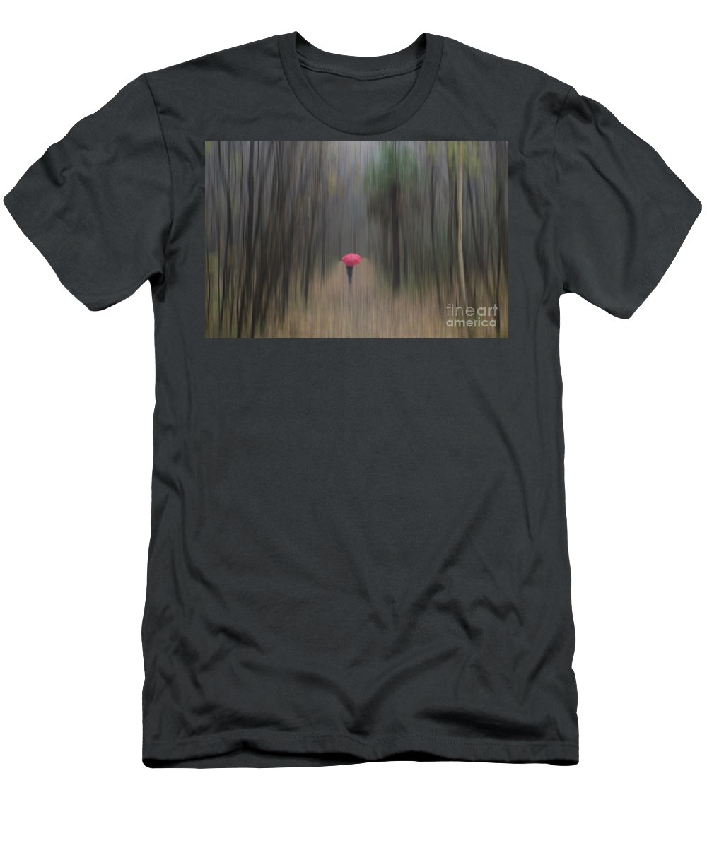 Woman Men's T-Shirt (Athletic Fit) featuring the photograph Red Umbrella In The Forest by Mats Silvan