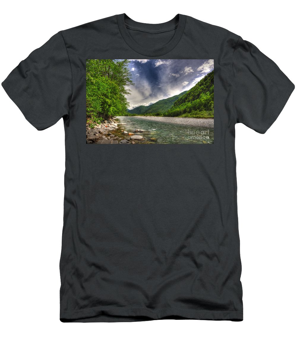River Men's T-Shirt (Athletic Fit) featuring the photograph River by Mats Silvan