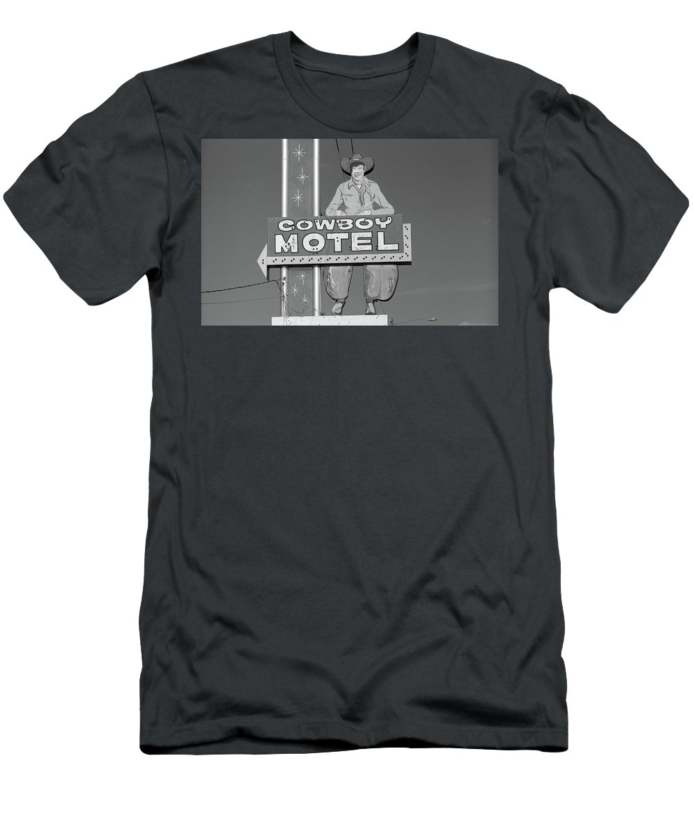 66 Men's T-Shirt (Athletic Fit) featuring the photograph Route 66 - Cowboy Motel by Frank Romeo