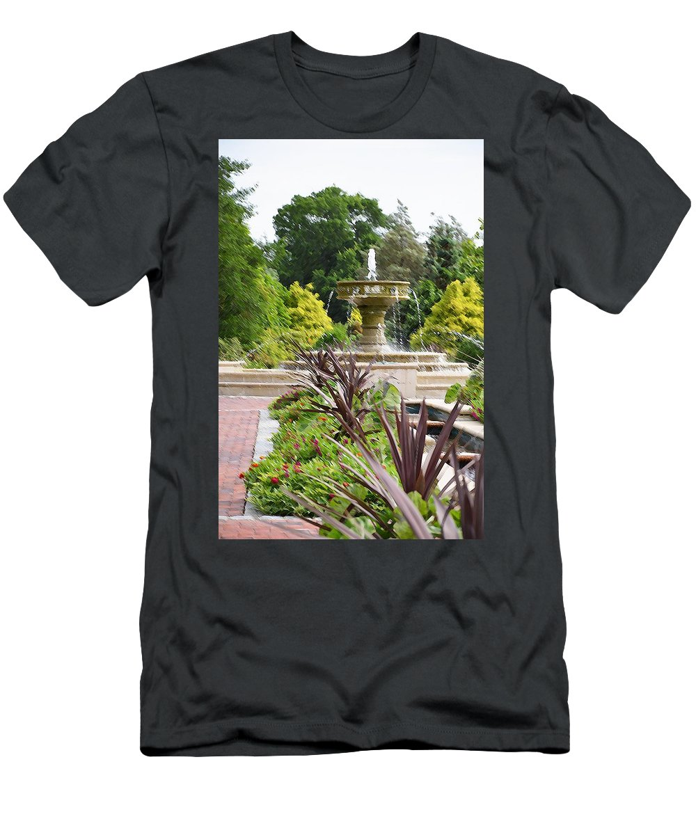 Sarah Lee Baker Perennial Garden Men's T-Shirt (Athletic Fit) featuring the painting Sarah Lee Baker Perennial Garden 4 by Jeelan Clark