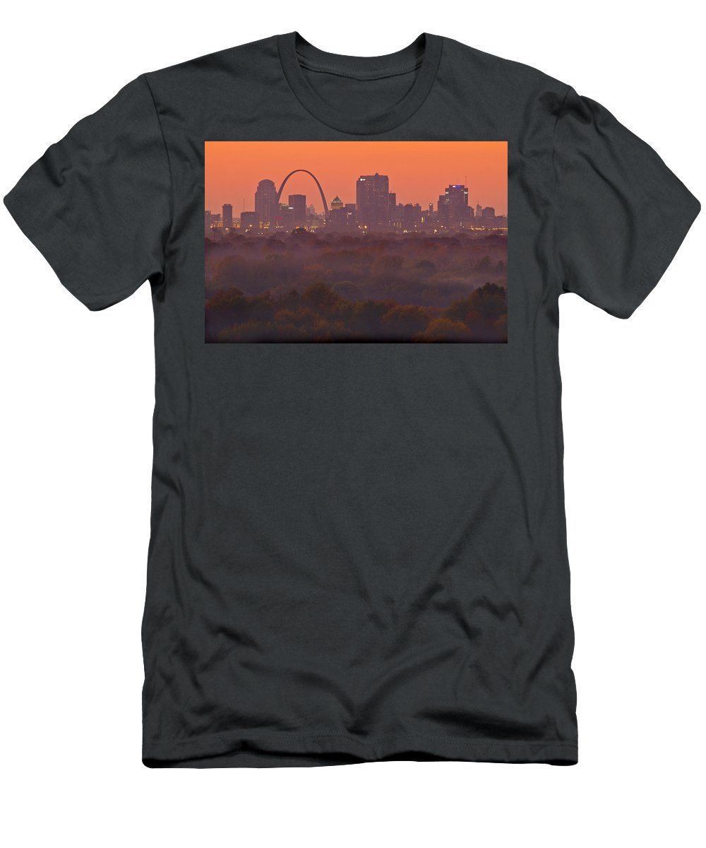 St Louis Men's T-Shirt (Athletic Fit) featuring the photograph St Louis Skyline And Arch by Garry McMichael