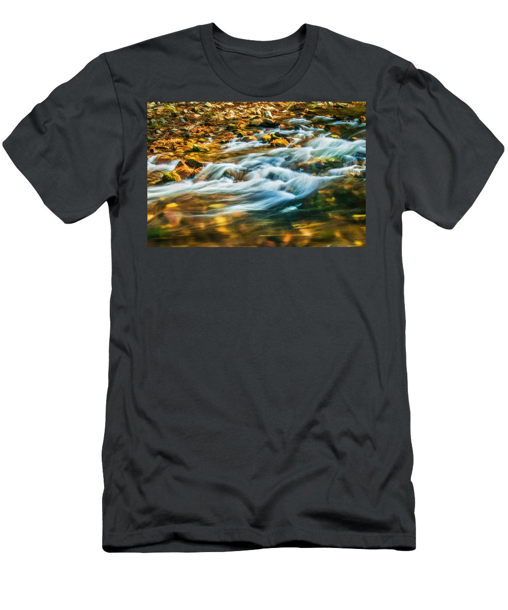 Stream Men's T-Shirt (Athletic Fit) featuring the photograph Stream Fall Colors Great Smoky Mountains Painted by Rich Franco