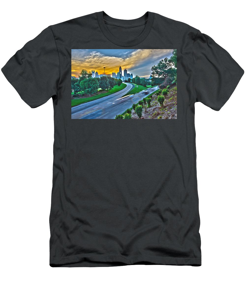America Men's T-Shirt (Athletic Fit) featuring the photograph Sun Setting Over Charlotte North Carolina A Major Metropolitan C by Alex Grichenko