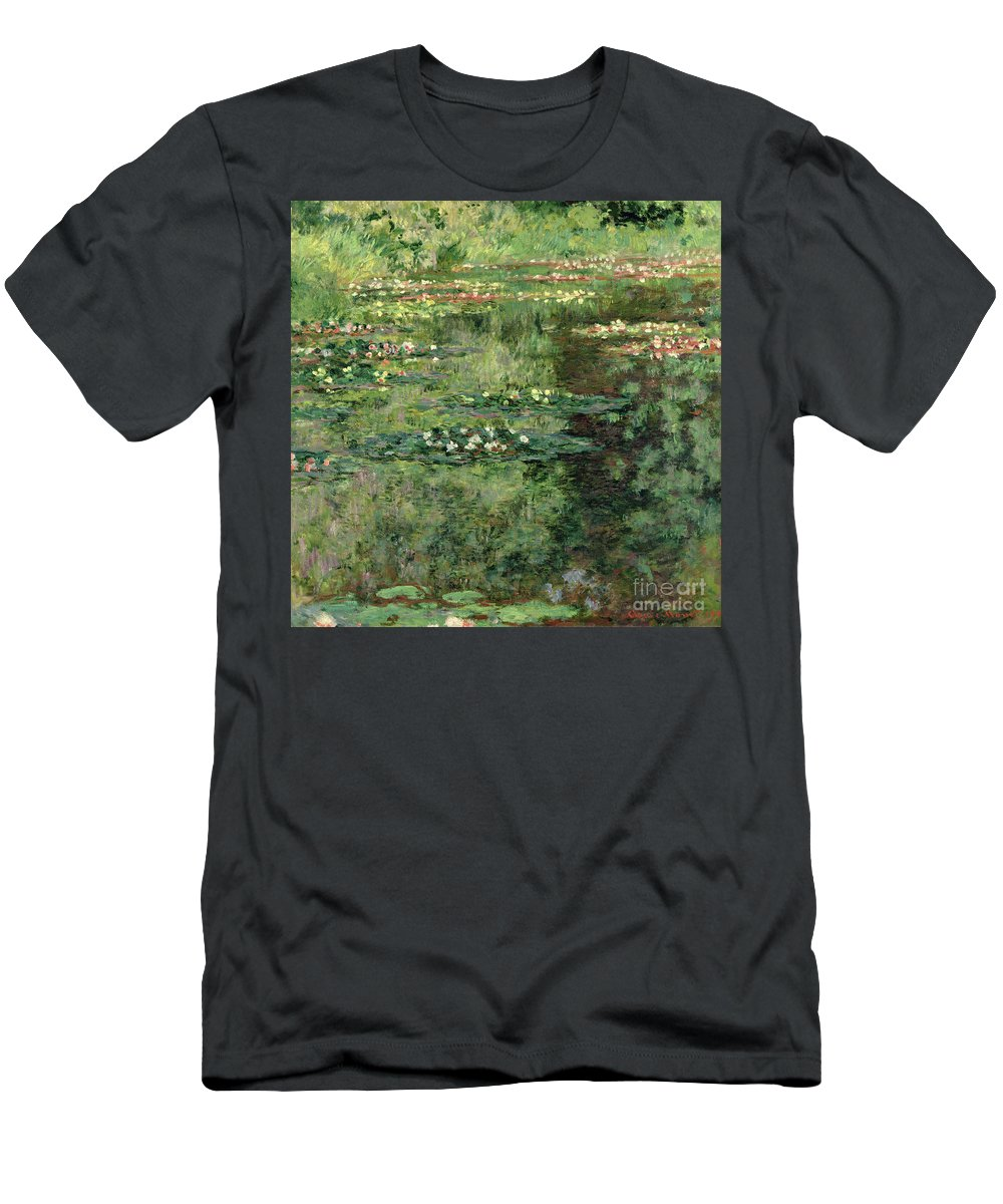 Etang Aux Nympheas Men's T-Shirt (Athletic Fit) featuring the painting The Waterlily Pond by Claude Monet