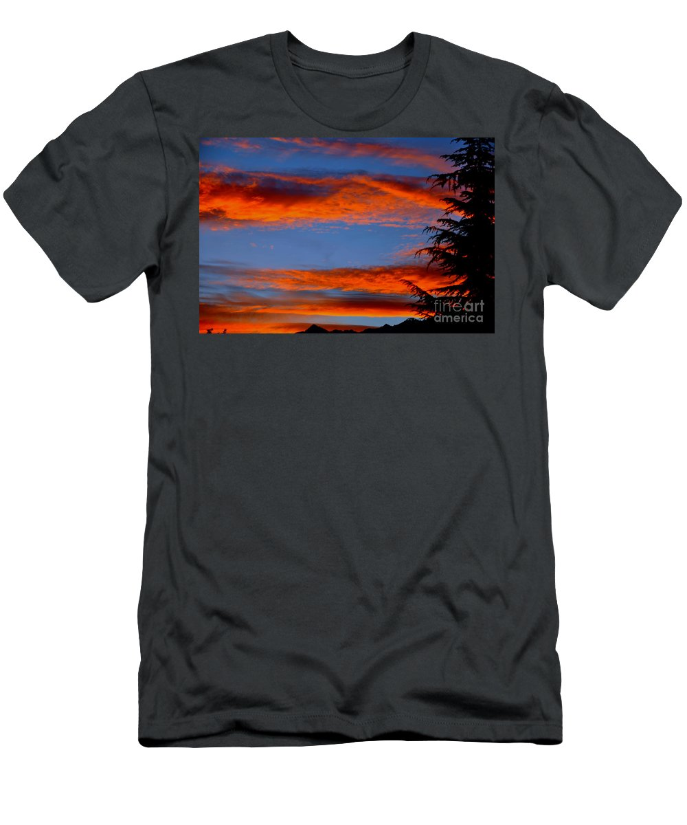Tree Men's T-Shirt (Athletic Fit) featuring the photograph Tree In Sunset by Mats Silvan