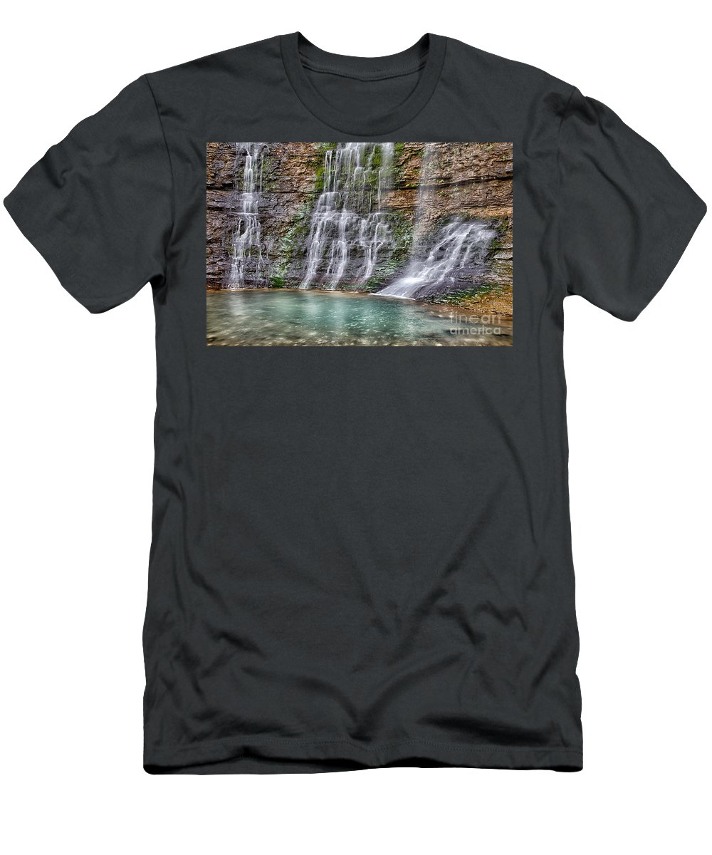 Waterfall Photograph Men's T-Shirt (Athletic Fit) featuring the photograph Triple Falls by Terri Morris