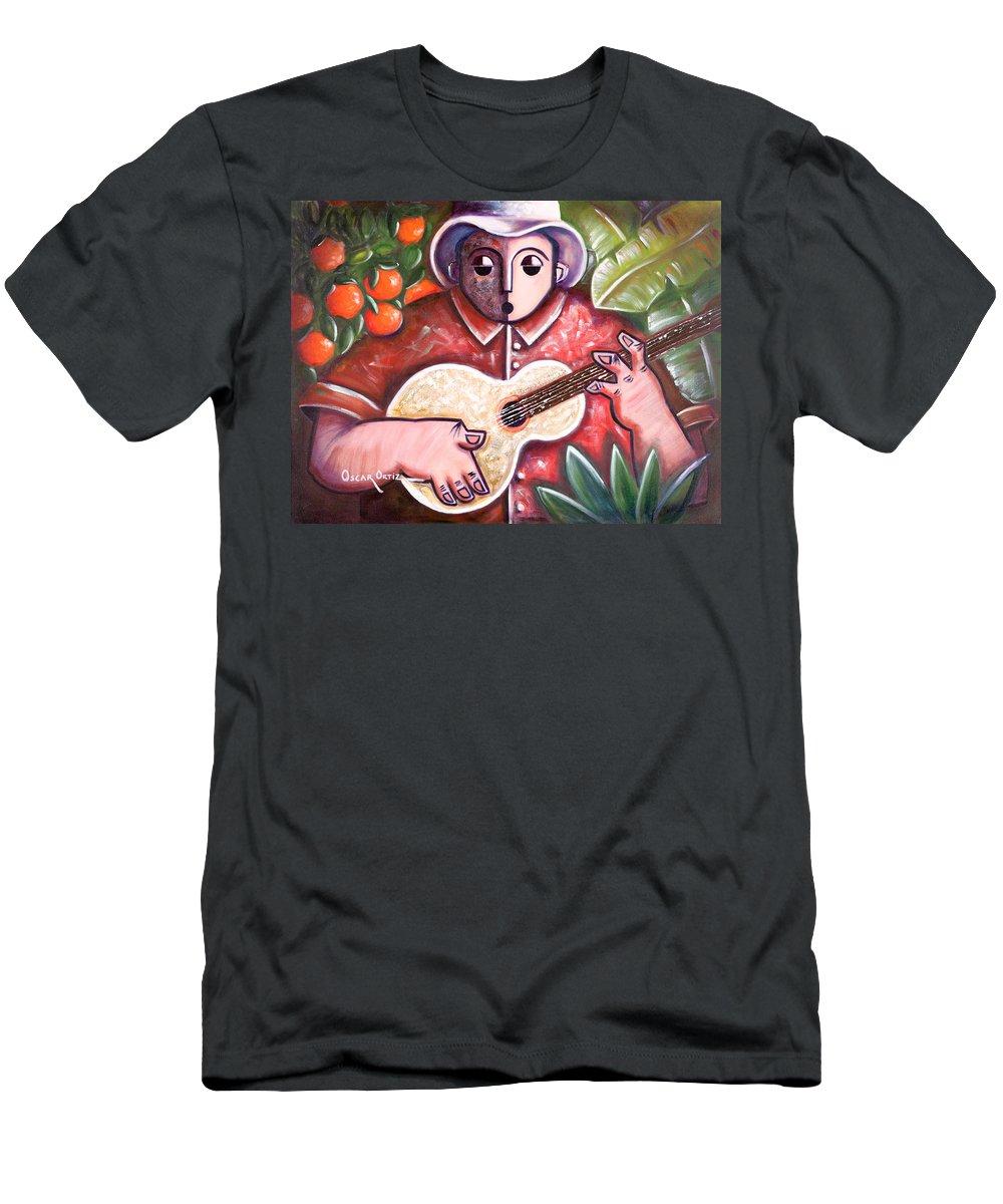 Puerto Rico T-Shirt featuring the painting Trovando en Las Marias by Oscar Ortiz