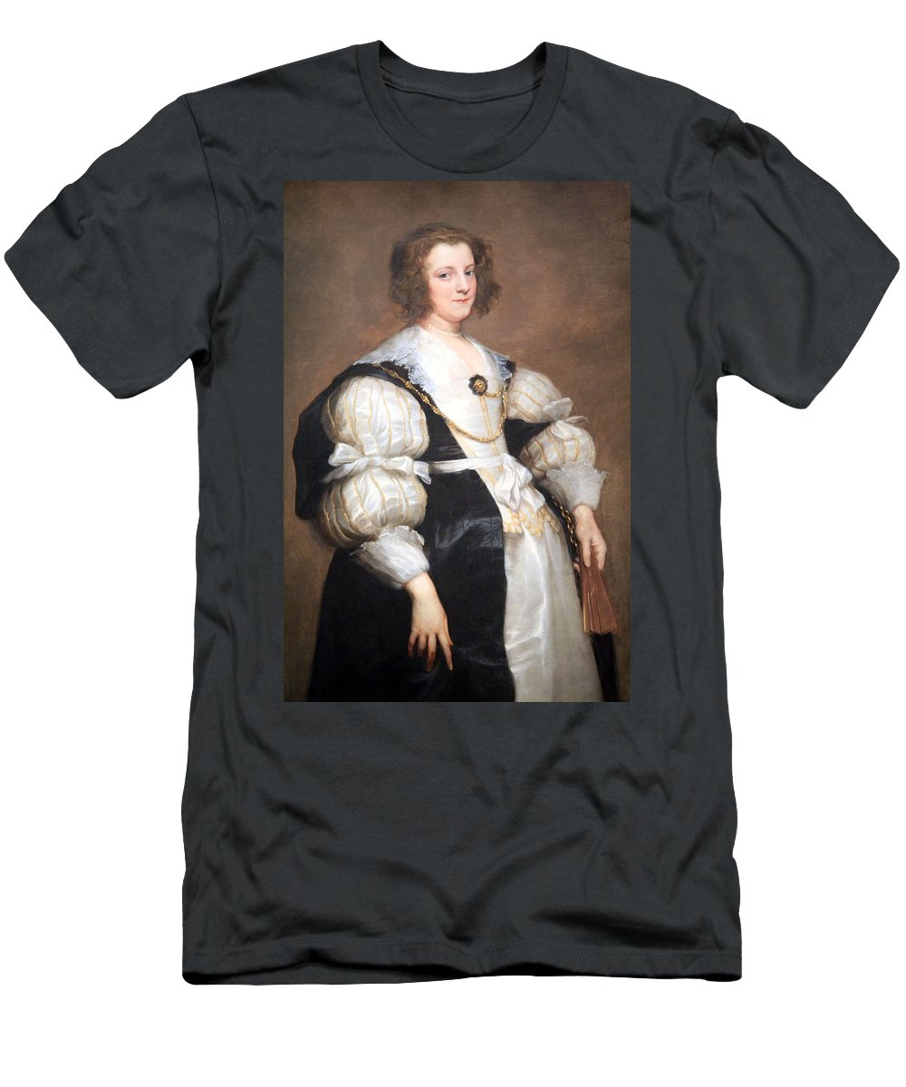 Lady With A Fan Men's T-Shirt (Athletic Fit) featuring the photograph Van Dyck's Lady With A Fan by Cora Wandel