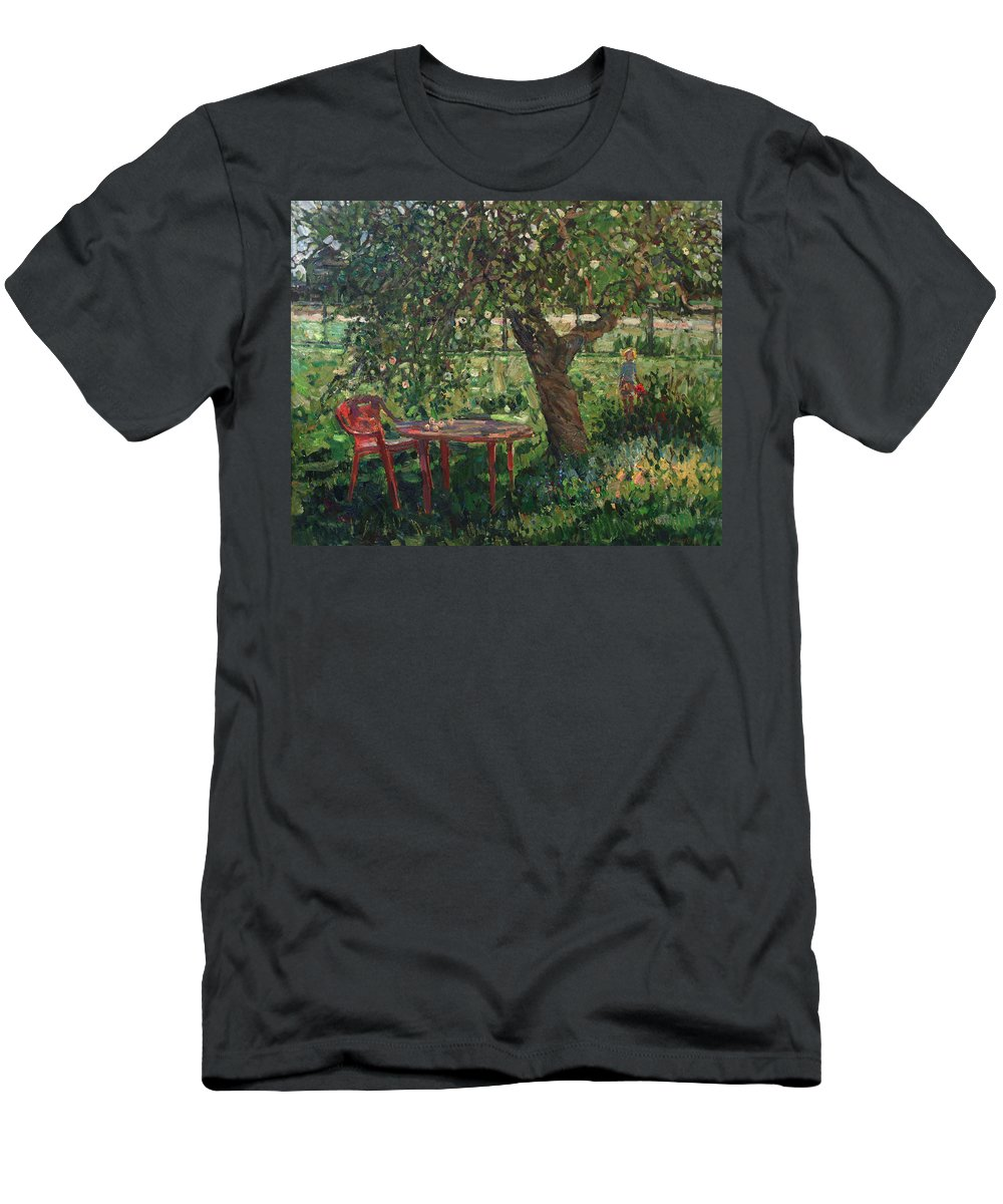 Garden Men's T-Shirt (Athletic Fit) featuring the painting When The Trees Are Big by Juliya Zhukova