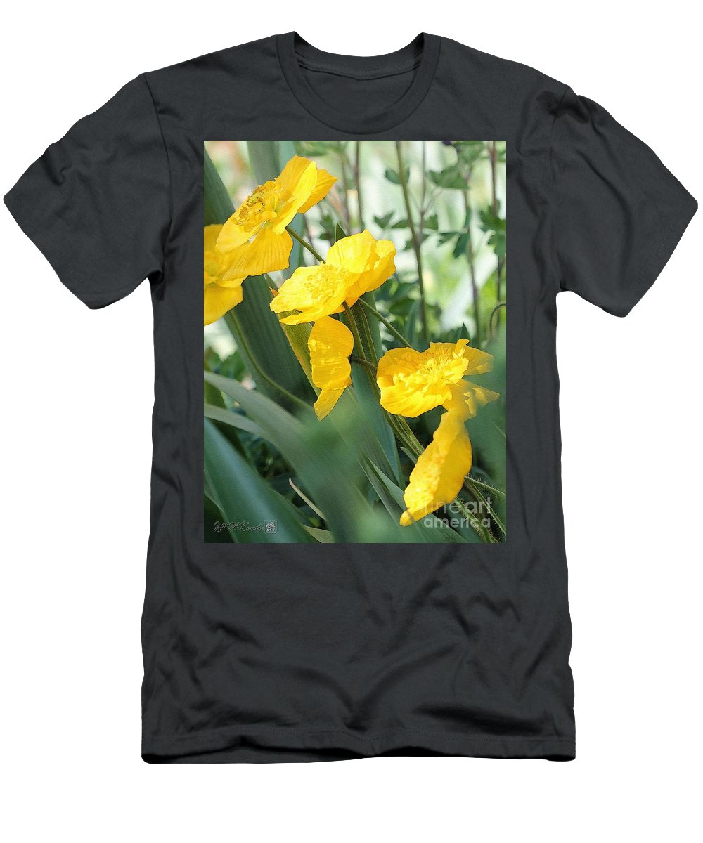 Mccombie Men's T-Shirt (Athletic Fit) featuring the painting Yellow Iceland Poppy by J McCombie