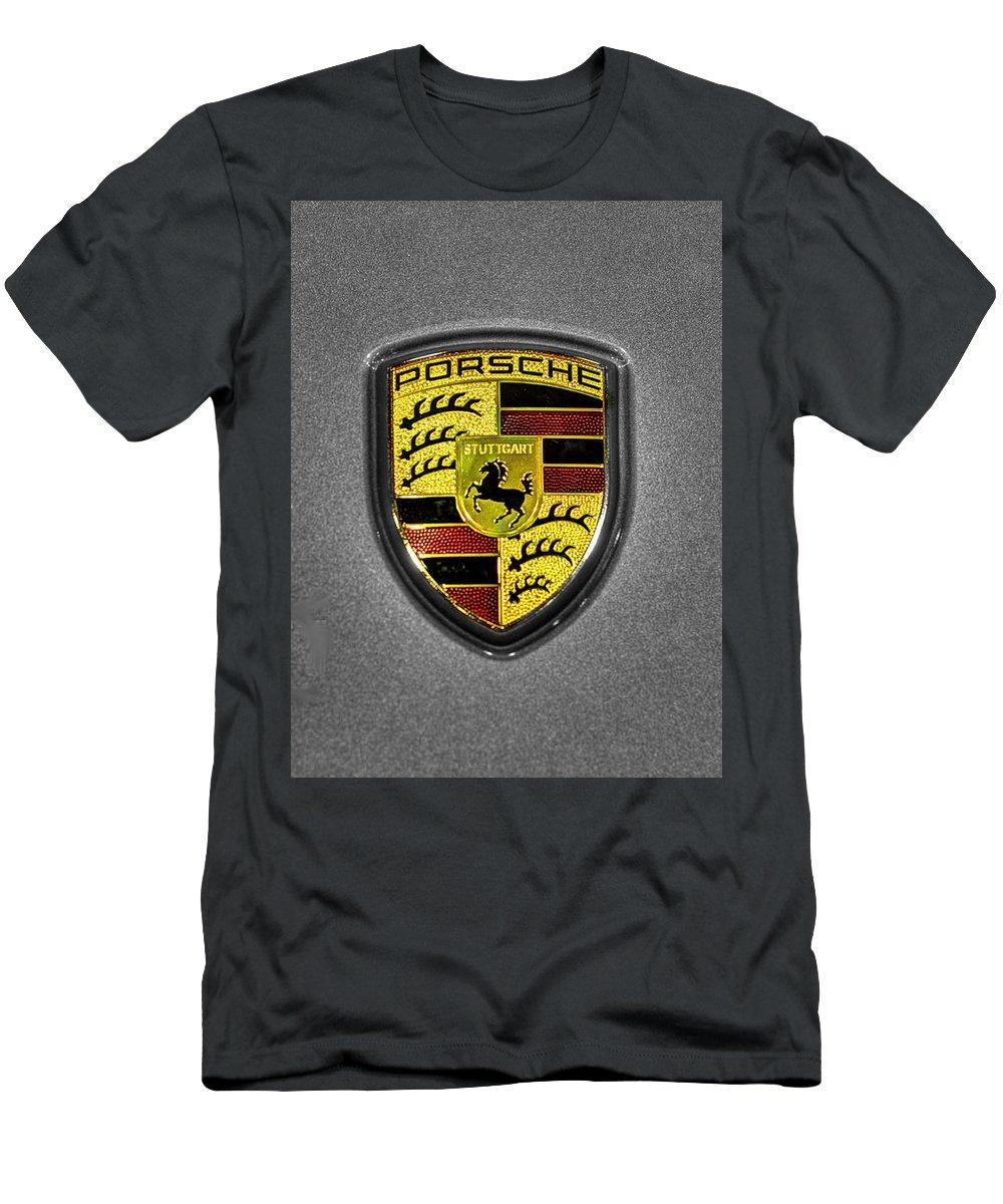 2014 Porsche 911 Carrera S Men's T-Shirt (Athletic Fit) featuring the photograph 2014 Porsche Cayman S Logo by John Straton
