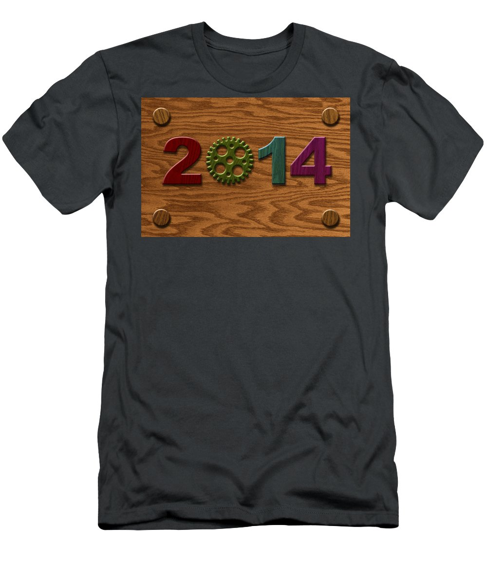 2014 Men's T-Shirt (Athletic Fit) featuring the photograph 2014 Wooden Gear On Wood Grain Texture Background by Jit Lim