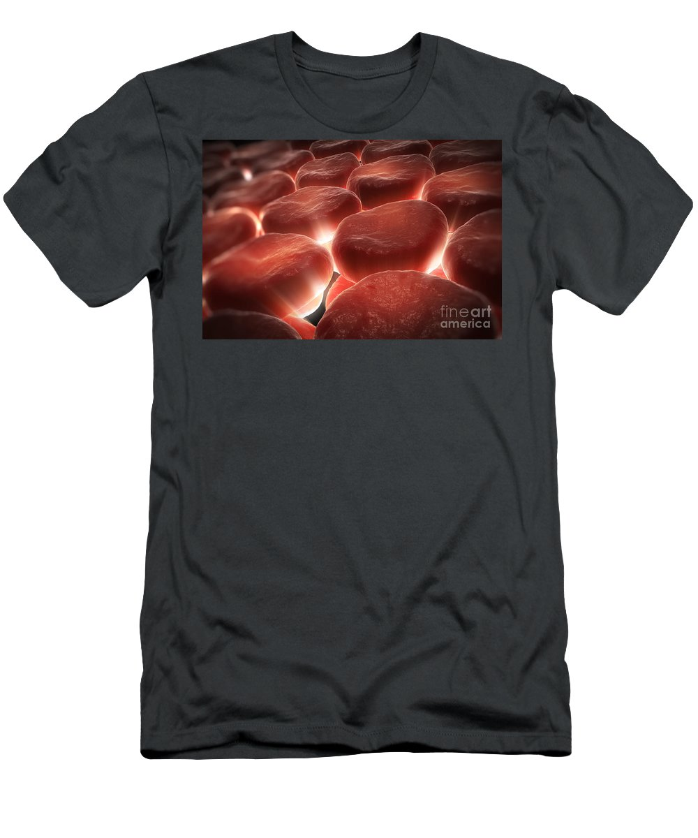 Erythrocytes Men's T-Shirt (Athletic Fit) featuring the photograph Red Blood Cells by Science Picture Co