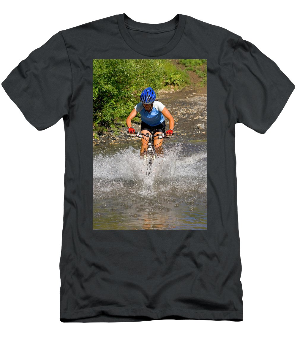 25-30 Years Men's T-Shirt (Athletic Fit) featuring the photograph A Woman Mountain Bikes Along Trail 401 by J.C. Leacock
