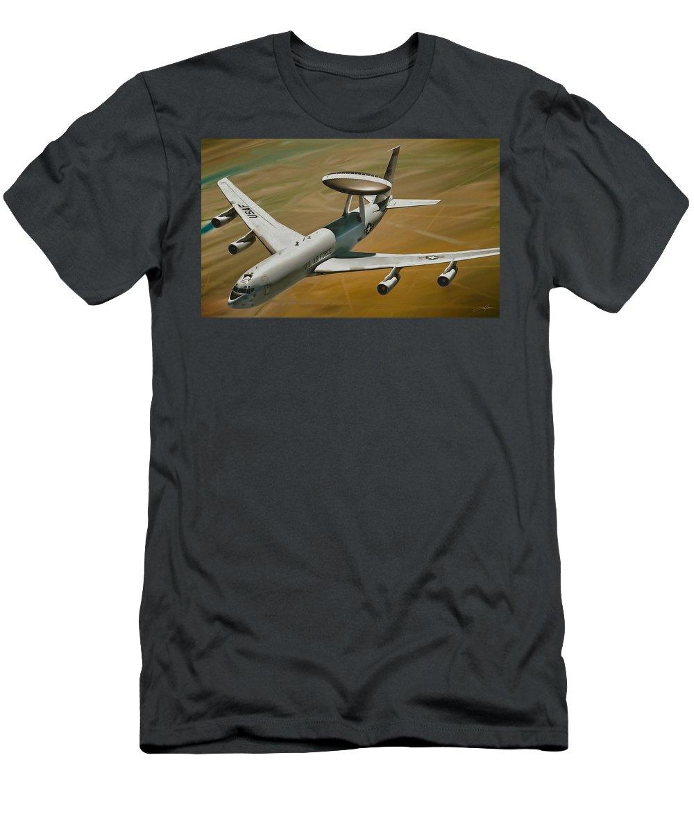 Awacs Men's T-Shirt (Athletic Fit) featuring the digital art Awacs Up For A Drink by Dale Jackson