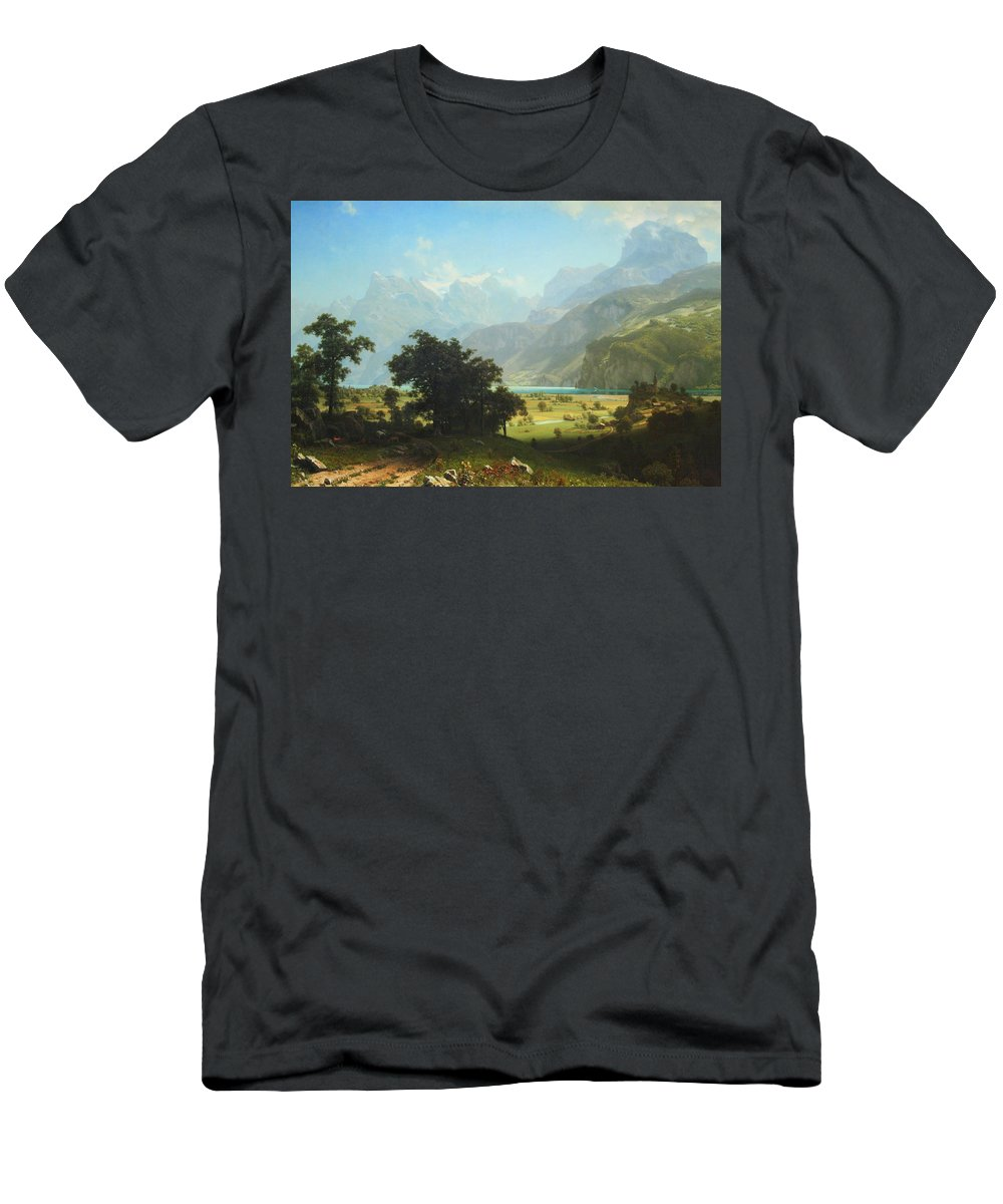 Lake Lucerne Men's T-Shirt (Athletic Fit) featuring the photograph Bierstadt's Lake Lucerne by Cora Wandel