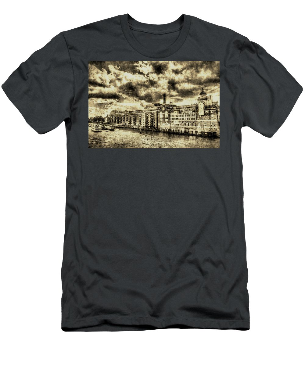 Butlers Wharf Men's T-Shirt (Athletic Fit) featuring the photograph Butlers Wharf London Vintage by David Pyatt