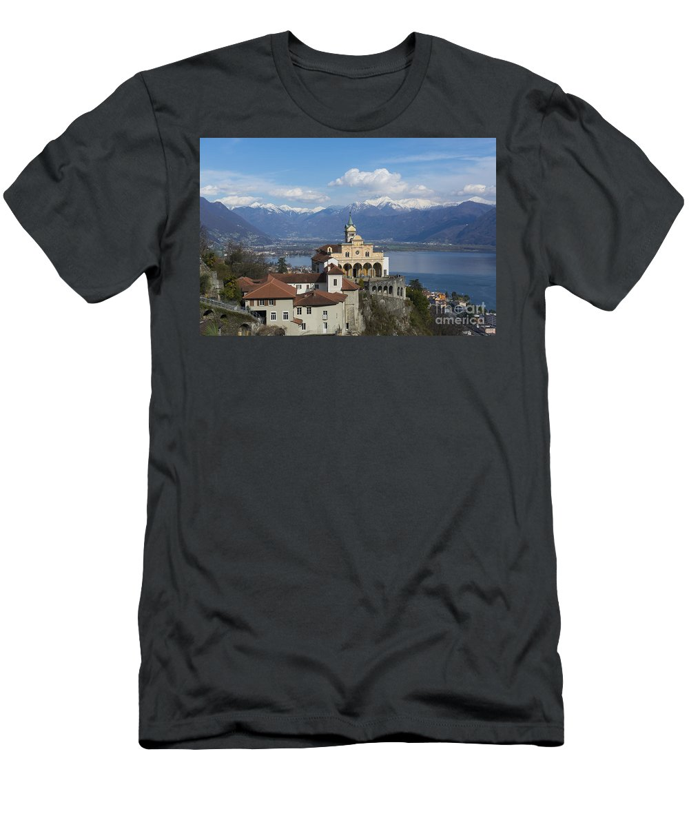 Church Men's T-Shirt (Athletic Fit) featuring the photograph Church Madonna Del Sasso by Mats Silvan
