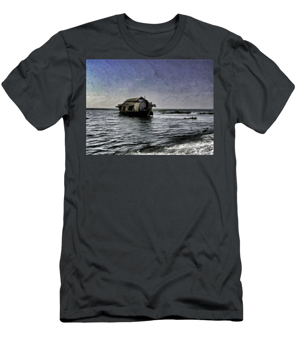 Backwater Men's T-Shirt (Athletic Fit) featuring the digital art Digital Oil Painting - A Houseboat Moving Placidly Through A Coastal Lagoon In Alleppey by Ashish Agarwal