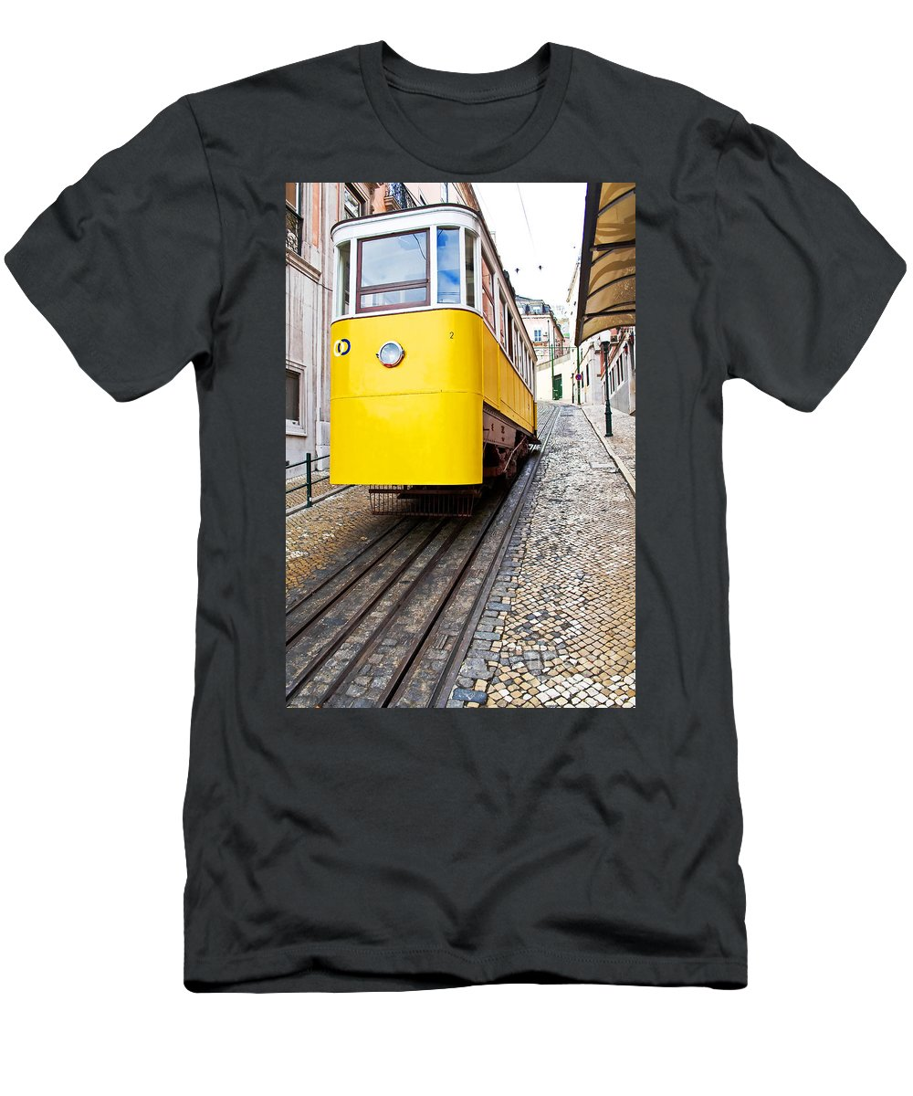 Elevador Men's T-Shirt (Athletic Fit) featuring the photograph Gloria Funicular by Jose Elias - Sofia Pereira