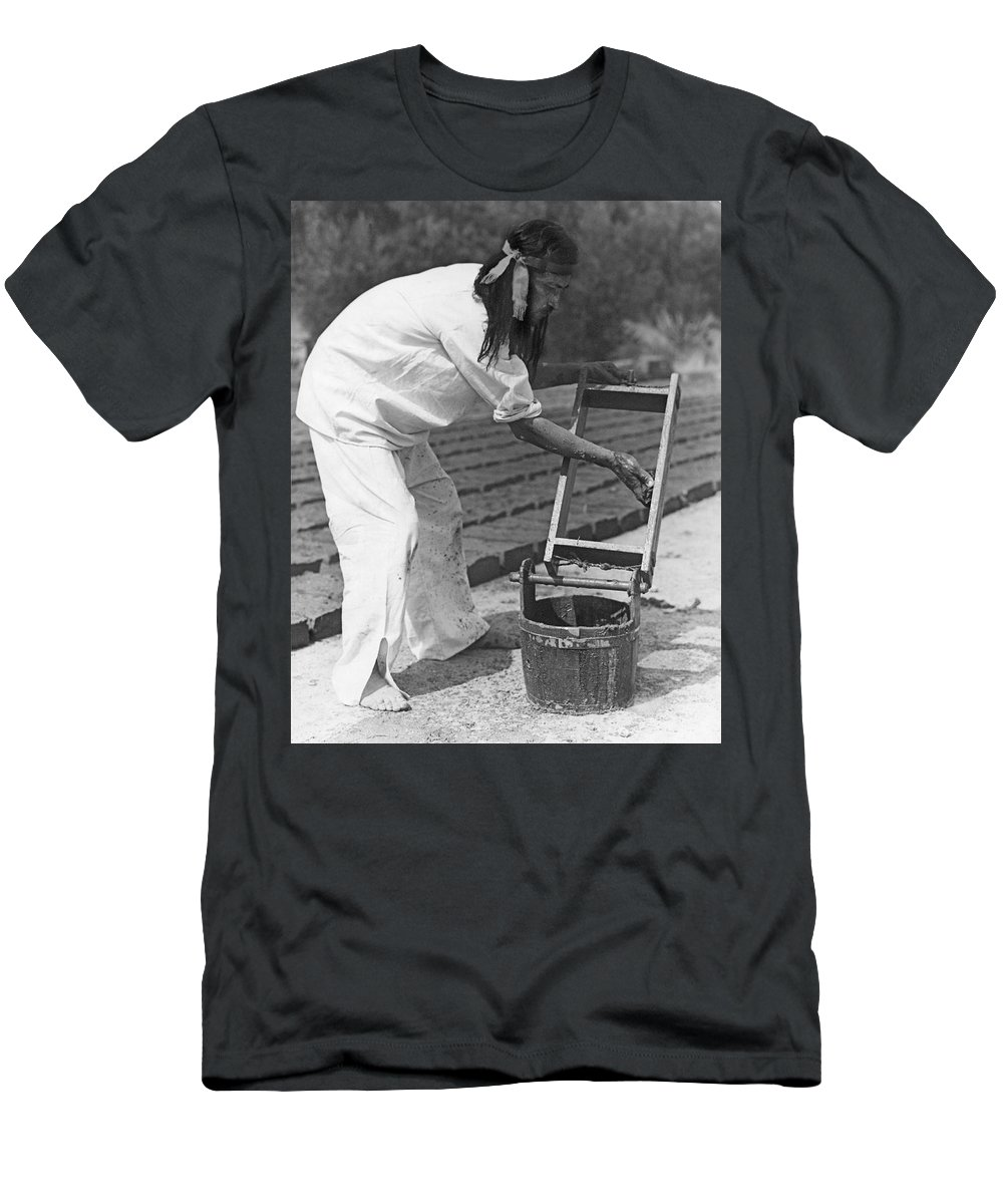 1 Person Men's T-Shirt (Athletic Fit) featuring the photograph Indians Making Adobe Bricks by Underwood Archives Onia