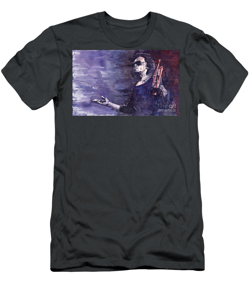 Jazz Men's T-Shirt (Athletic Fit) featuring the painting Jazz Miles Davis by Yuriy Shevchuk