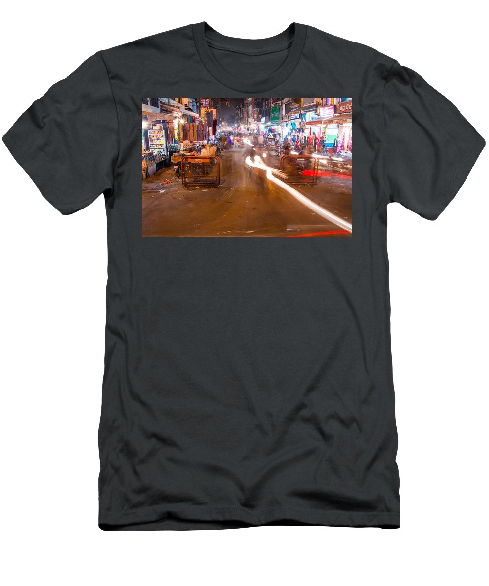 Allahabad Men's T-Shirt (Athletic Fit) featuring the photograph Katra Market by Gaurav Singh