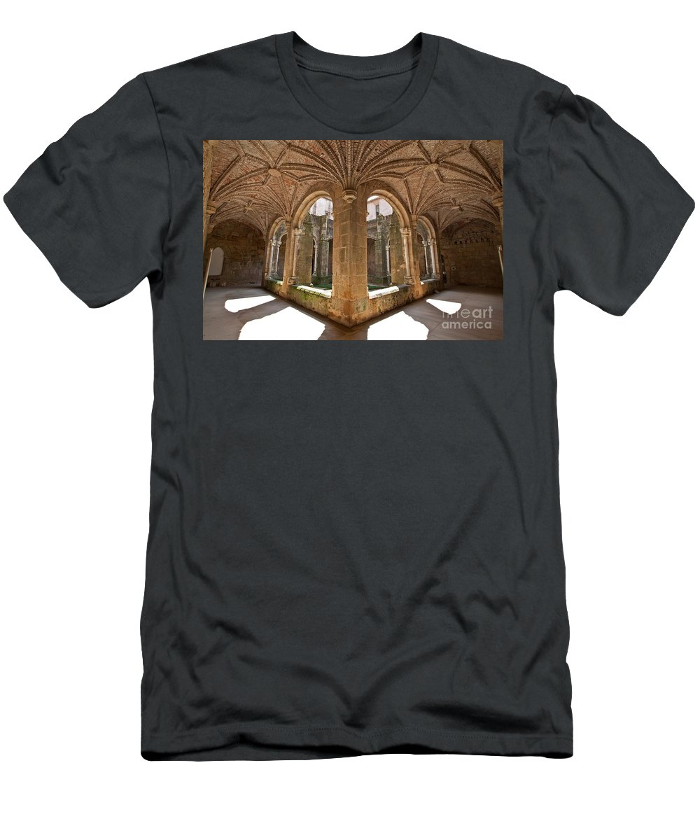 Cloister Men's T-Shirt (Athletic Fit) featuring the photograph Medieval Monastery Cloister by Jose Elias - Sofia Pereira