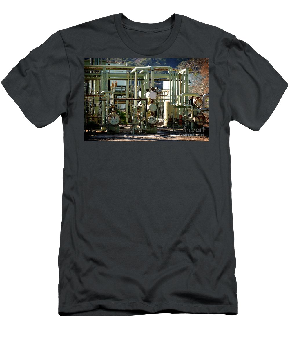 Air Men's T-Shirt (Athletic Fit) featuring the photograph Oil Refinery by Henrik Lehnerer