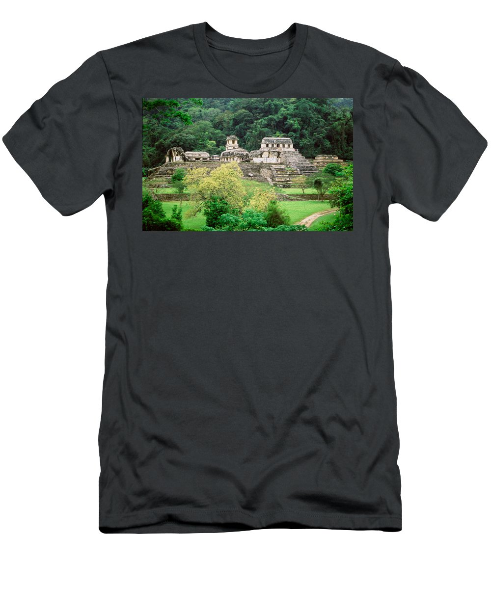 America Men's T-Shirt (Athletic Fit) featuring the digital art Palenque City by Roy Pedersen