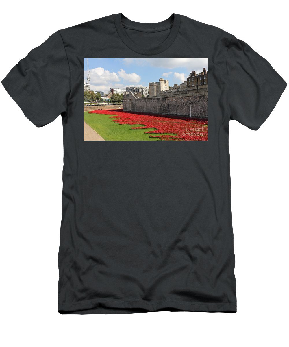 Remembrance Poppies At The Tower Of London Men's T-Shirt (Athletic Fit) featuring the photograph Remembrance Poppies At The Tower Of London by Julia Gavin