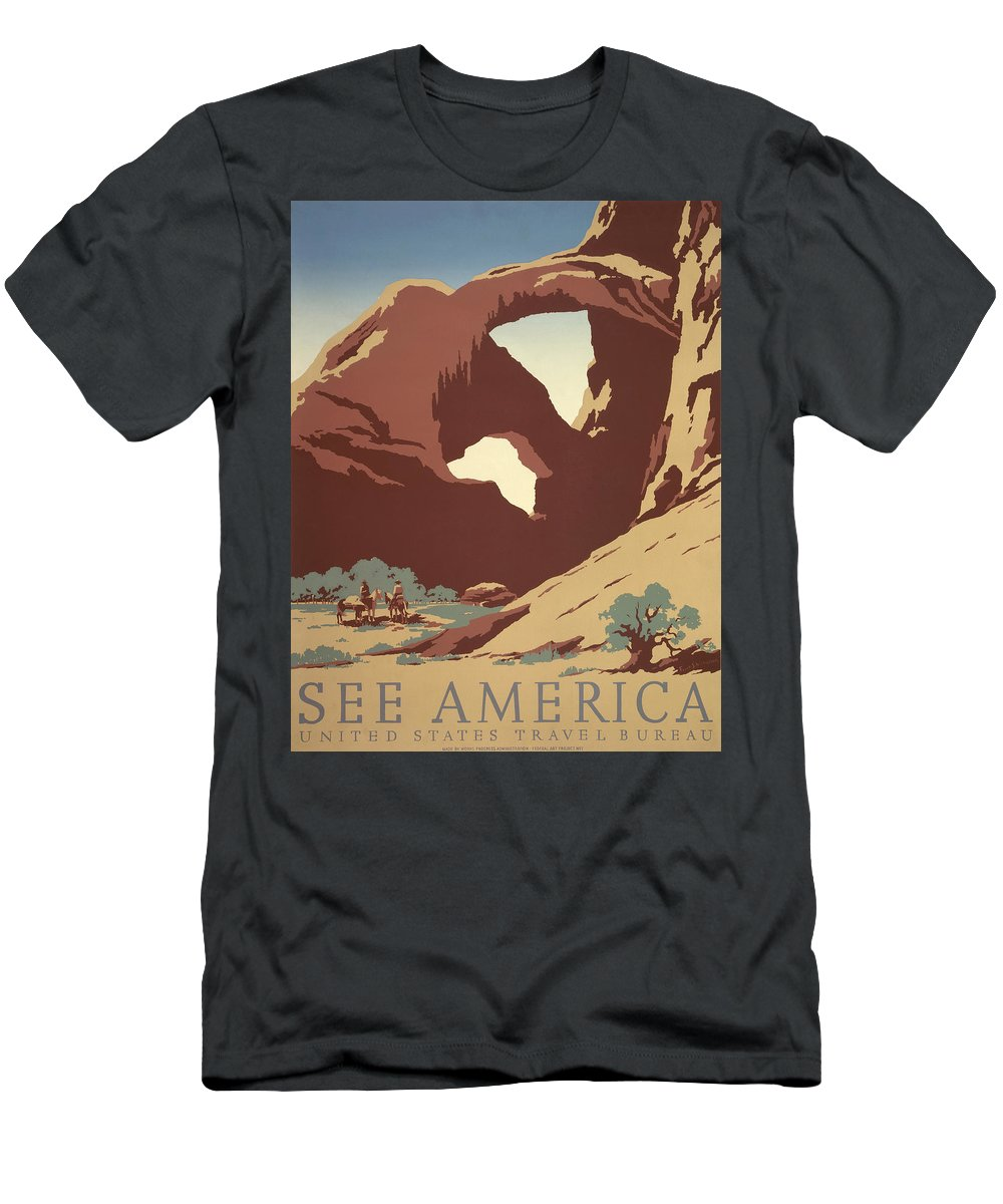 1937 Men's T-Shirt (Athletic Fit) featuring the photograph See America Poster, C1937 by Granger